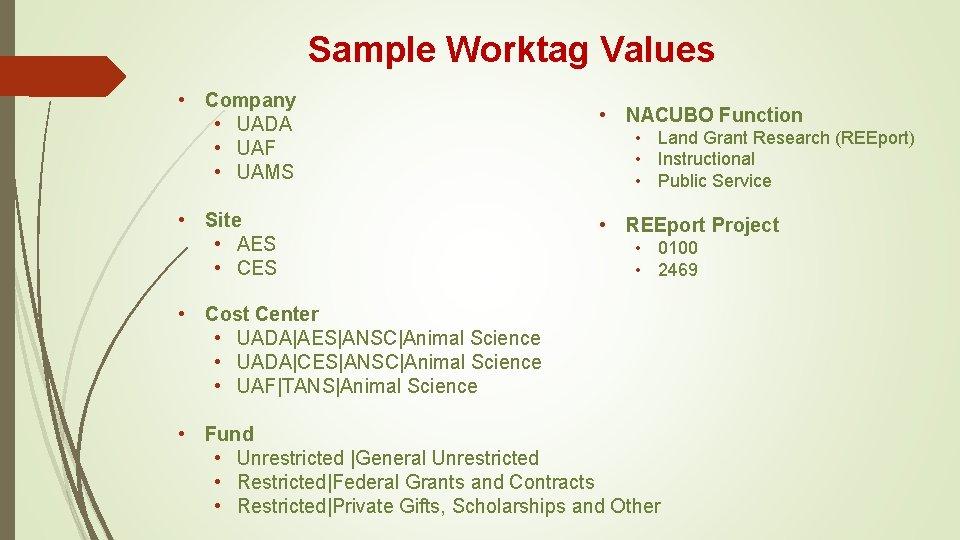 Sample Worktag Values • Company • UADA • UAF • UAMS • Site •