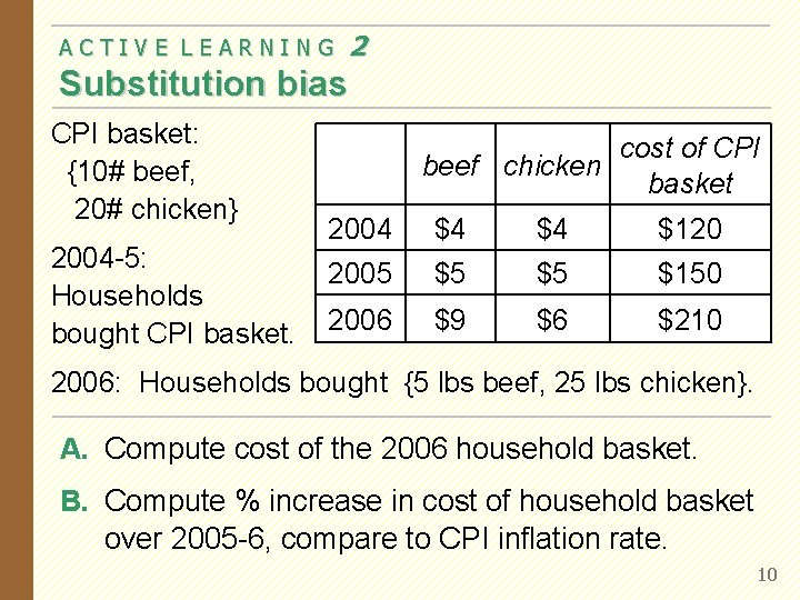 ACTIVE LEARNING 2 Substitution bias CPI basket: {10# beef, 20# chicken} 2004 -5: Households