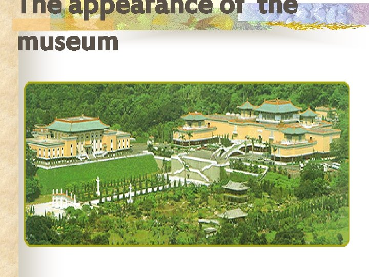 The appearance of the museum