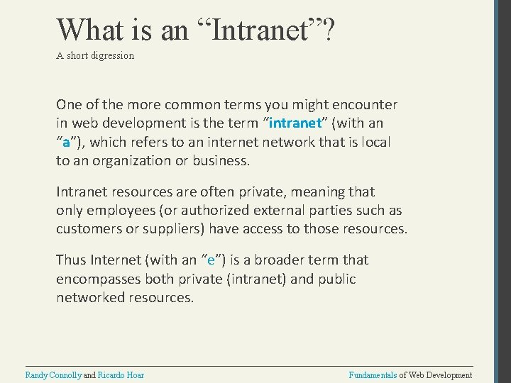 """What is an """"Intranet""""? A short digression One of the more common terms you"""