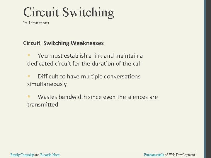 Circuit Switching Its Limitations Circuit Switching Weaknesses § You must establish a link and