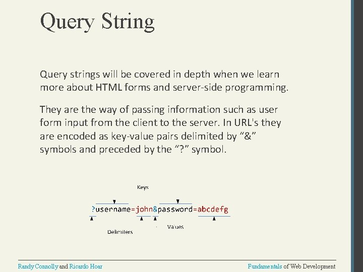 Query String Query strings will be covered in depth when we learn more about