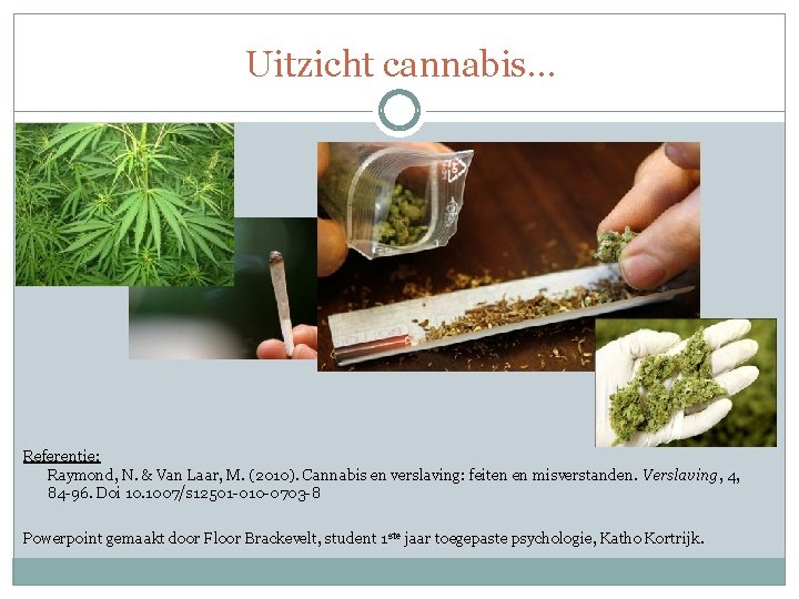 Uitzicht cannabis… Referentie: Raymond, N. & Van Laar, M. (2010). Cannabis en verslaving: feiten