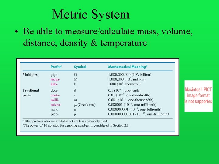 Metric System • Be able to measure/calculate mass, volume, distance, density & temperature