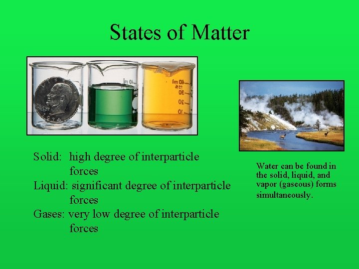 States of Matter Solid: high degree of interparticle forces Liquid: significant degree of interparticle