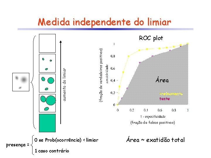 Medida independente do limiar (fração de verdadeiros positivos) aumento do limiar ROC plot Área