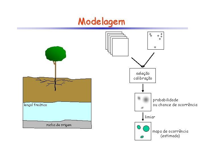 Modelagem seleção calibração lençol freático probabilidade ou chance de ocorrência limiar rocha de origem