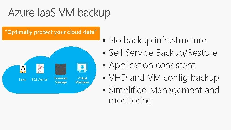 """Optimally protect your cloud data"" Linux SQL Server Premium Storage Virtual Machines • •"