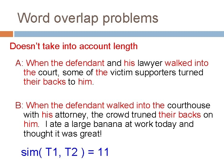 Word overlap problems Doesn't take into account length A: When the defendant and his
