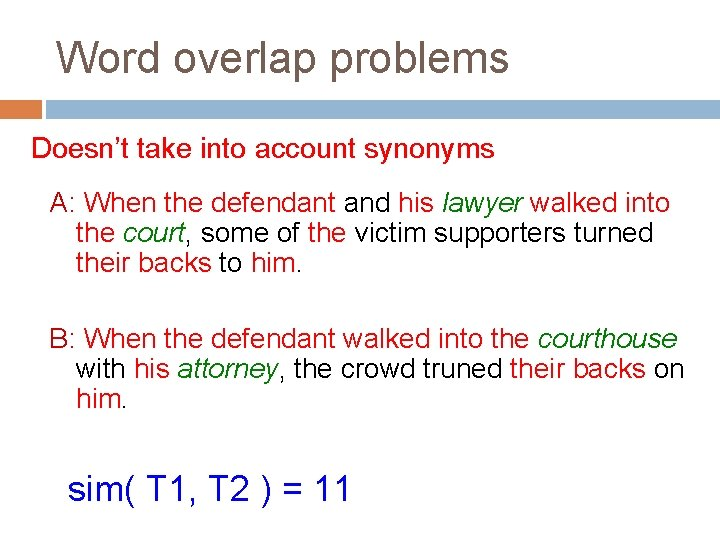 Word overlap problems Doesn't take into account synonyms A: When the defendant and his