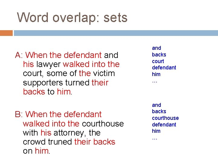 Word overlap: sets A: When the defendant and his lawyer walked into the court,