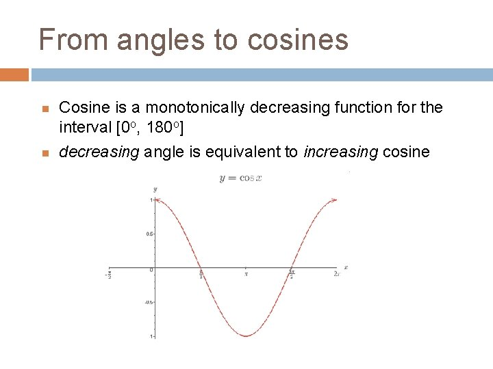 From angles to cosines Cosine is a monotonically decreasing function for the interval [0