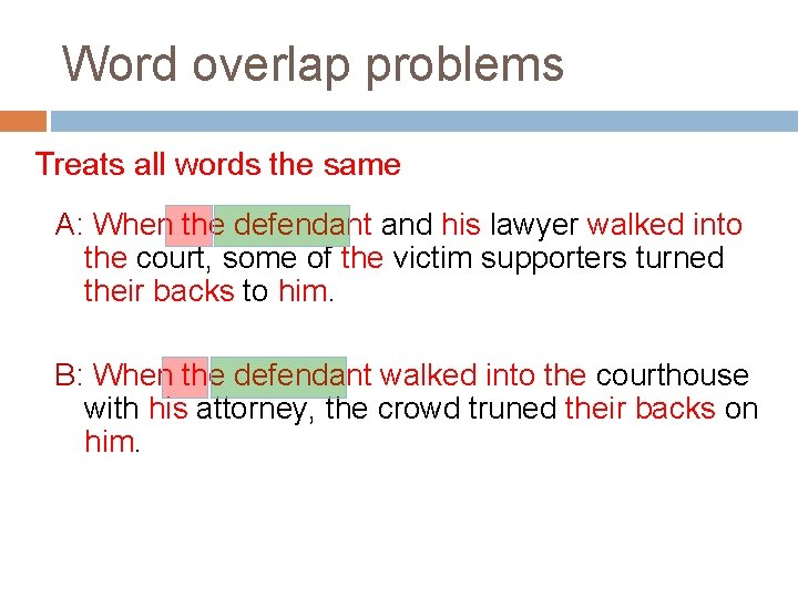 Word overlap problems Treats all words the same A: When the defendant and his