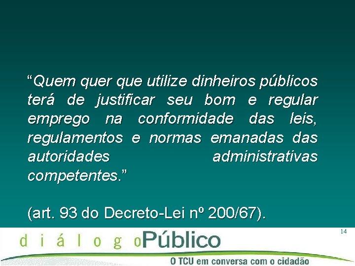 """""""Quem quer que utilize dinheiros públicos terá de justificar seu bom e regular emprego"""