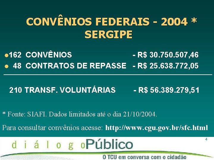 CONVÊNIOS FEDERAIS - 2004 * SERGIPE l 162 l CONVÊNIOS - R$ 30. 750.