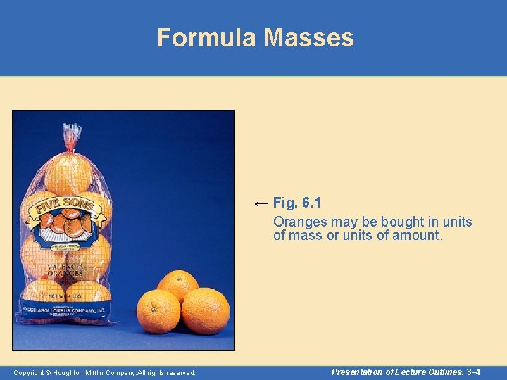 Formula Masses ← Fig. 6. 1 Oranges may be bought in units of mass