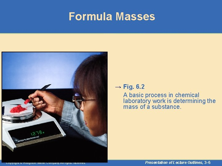 Formula Masses → Fig. 6. 2 A basic process in chemical laboratory work is