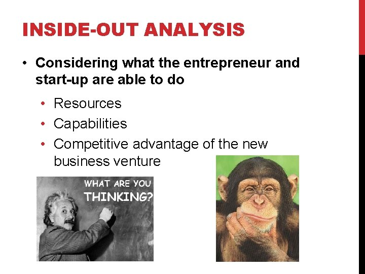 INSIDE-OUT ANALYSIS • Considering what the entrepreneur and start-up are able to do •