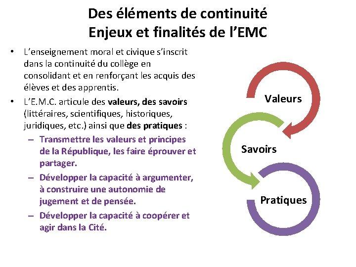 Des éléments de continuité Enjeux et finalités de l'EMC • L'enseignement moral et civique
