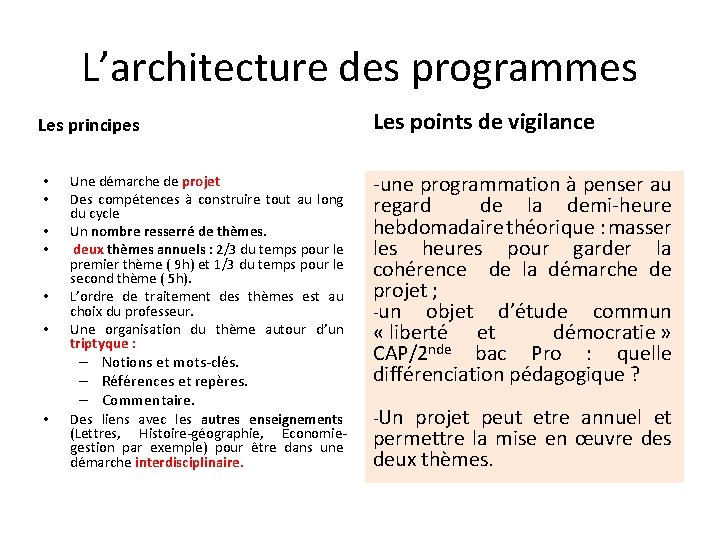 L'architecture des programmes Les principes • • Les points de vigilance Une démarche de