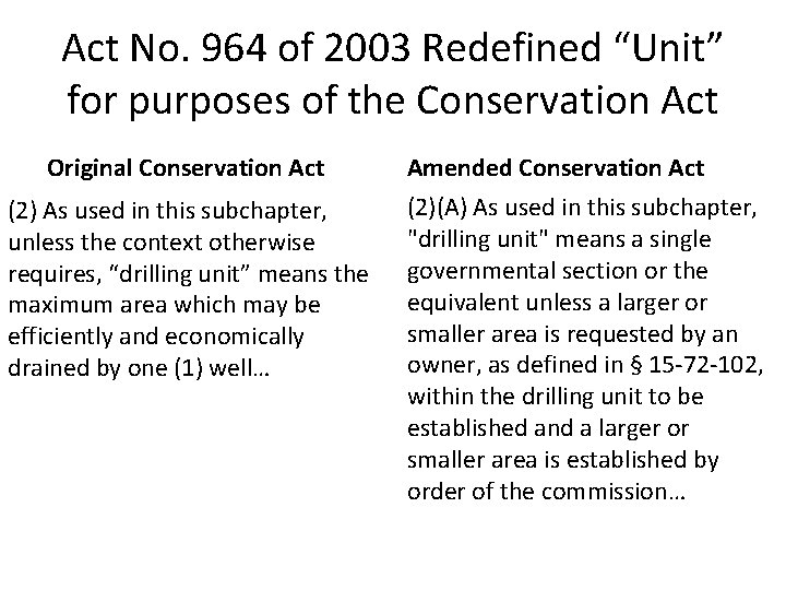 """Act No. 964 of 2003 Redefined """"Unit"""" for purposes of the Conservation Act Original"""