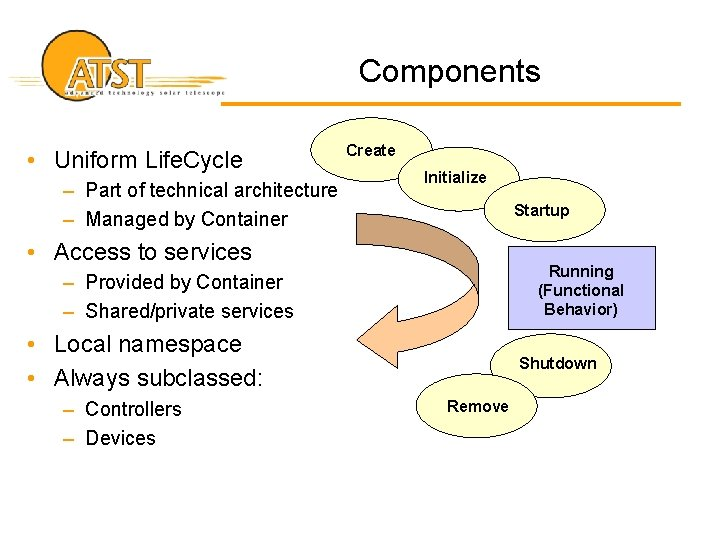 Components • Uniform Life. Cycle – Part of technical architecture – Managed by Container