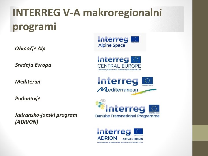 INTERREG V-A makroregionalni programi Območje Alp Srednja Evropa Mediteran Podonavje Jadransko-jonski program (ADRION)