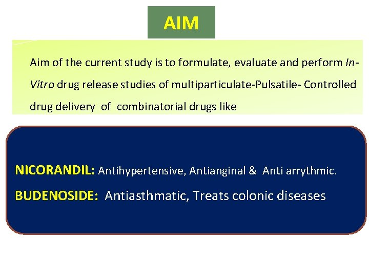 AIM Aim of the current study is to formulate, evaluate and perform In. Vitro