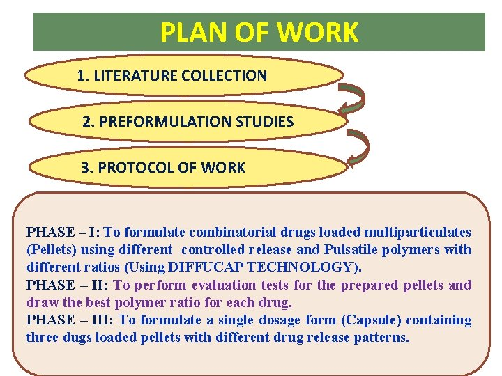 PLAN OF WORK 1. LITERATURE COLLECTION 2. PREFORMULATION STUDIES 3. PROTOCOL OF WORK PHASE