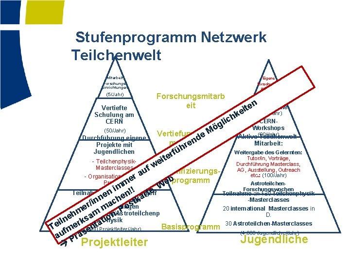 Stufenprogramm Netzwerk Teilchenwelt Mitarbeit Forschungseinrichtungen (5/Jahr) Vertiefte Schulung am CERN (50/Jahr) Durchführung eigene Projekte