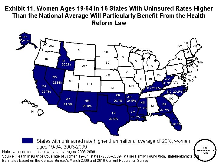Exhibit 11. Women Ages 19 -64 in 16 States With Uninsured Rates Higher Than