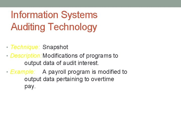 Information Systems Auditing Technology • Technique: Snapshot • Description: Modifications of programs to output
