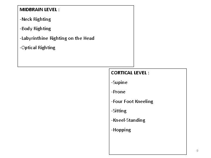 MIDBRAIN LEVEL : -Neck Righting -Body Righting -Labyrinthine Righting on the Head -Optical Righting