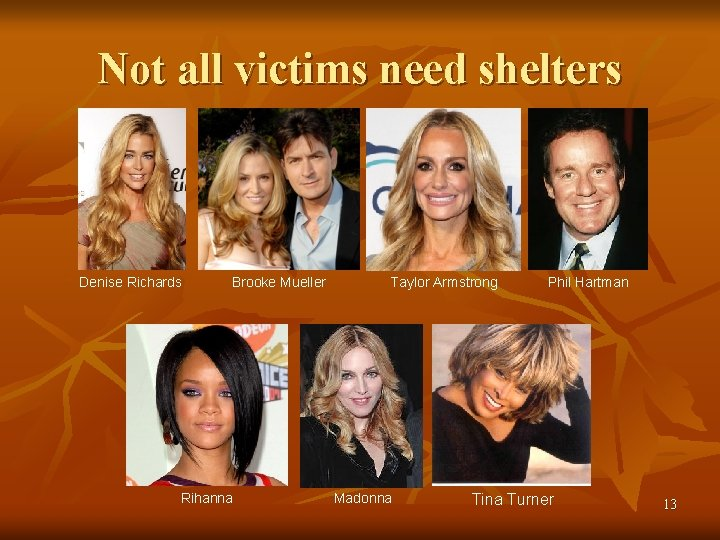 Not all victims need shelters Denise Richards Brooke Mueller Rihanna Taylor Armstrong Madonna Phil