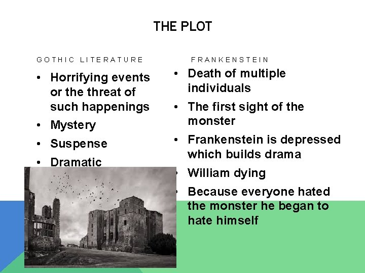 THE PLOT GOTHIC LITERATURE • Horrifying events or the threat of such happenings •