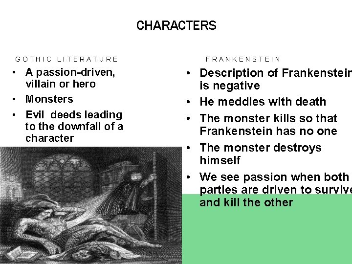 CHARACTERS GOTHIC LITERATURE • A passion-driven, villain or hero • Monsters • Evil deeds