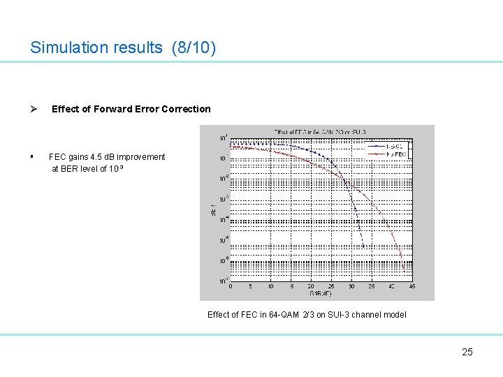 Simulation results (8/10) Ø § Effect of Forward Error Correction FEC gains 4. 5