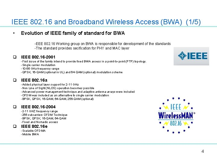 IEEE 802. 16 and Broadband Wireless Access (BWA) (1/5) • Evolution of IEEE family