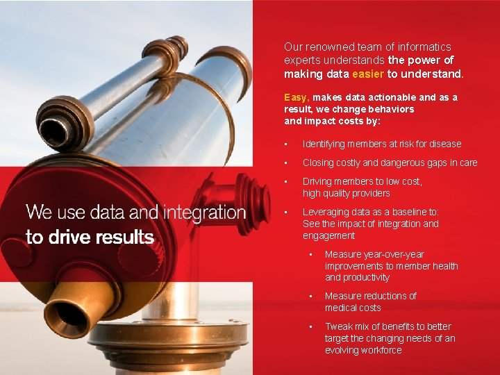 Our renowned team of informatics experts understands the power of making data easier to