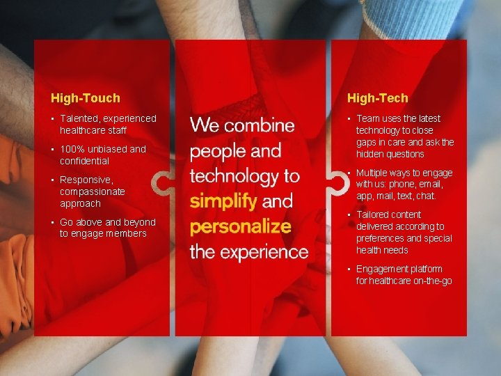 High-Touch High-Tech • Talented, experienced healthcare staff • Team uses the latest technology to