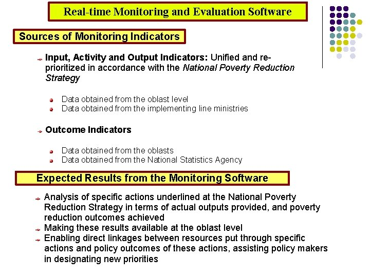 Real-time Monitoring and Evaluation Software Sources of Monitoring Indicators Input, Activity and Output Indicators: