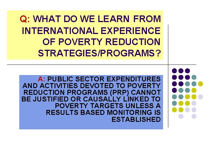Q: WHAT DO WE LEARN FROM INTERNATIONAL EXPERIENCE OF POVERTY REDUCTION STRATEGIES/PROGRAMS? A: PUBLIC