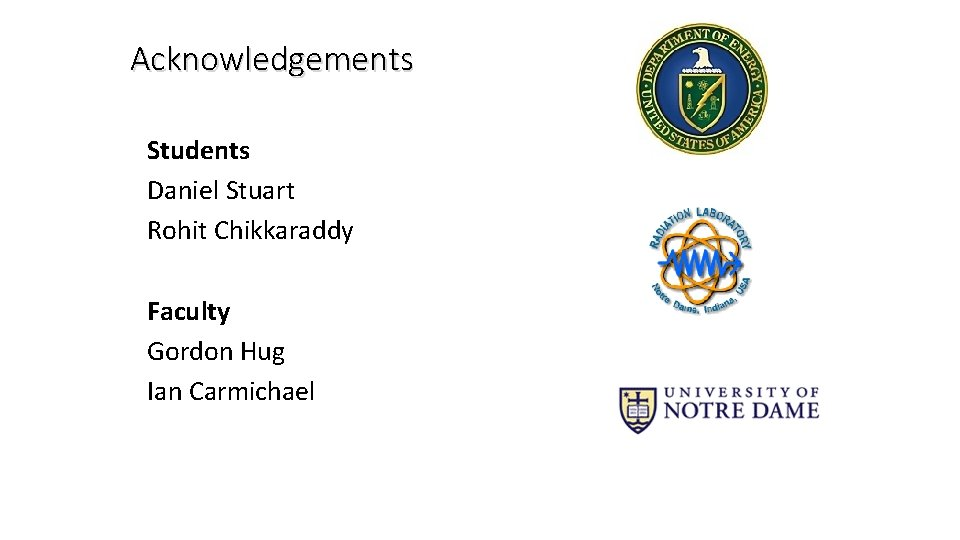 Acknowledgements Students Daniel Stuart Rohit Chikkaraddy Faculty Gordon Hug Ian Carmichael