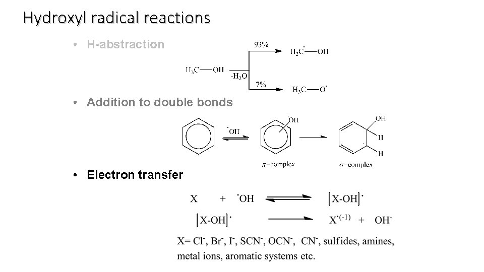 Hydroxyl radical reactions • H-abstraction • Addition to double bonds • Electron transfer