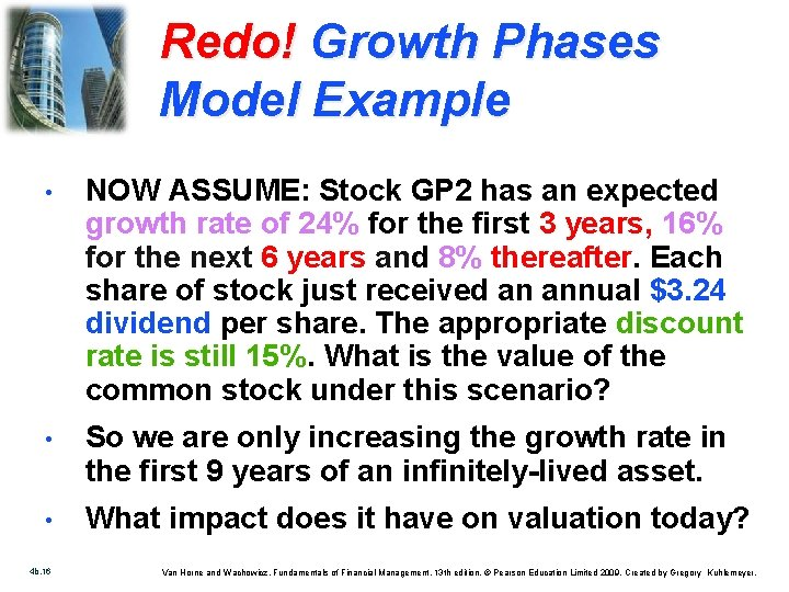 Redo! Growth Phases Model Example • NOW ASSUME: Stock GP 2 has an expected