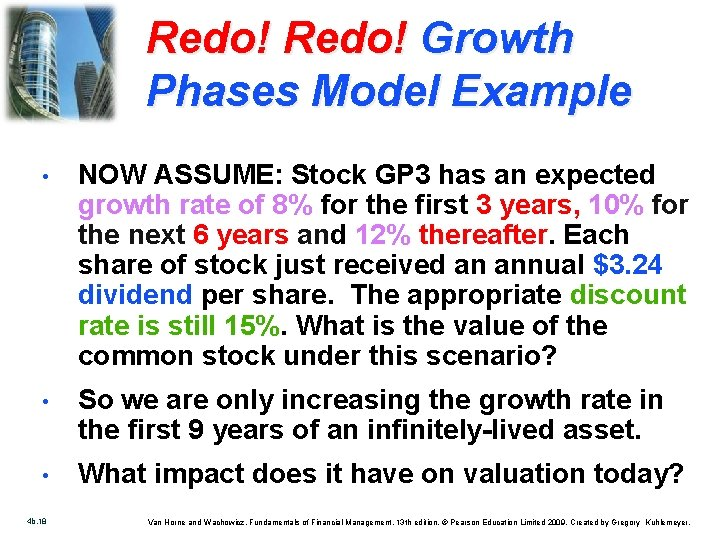 Redo! Growth Phases Model Example • NOW ASSUME: Stock GP 3 has an expected
