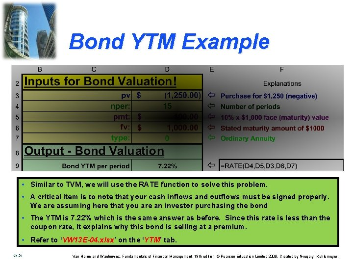 Bond YTM Example • Similar to TVM, we will use the RATE function to