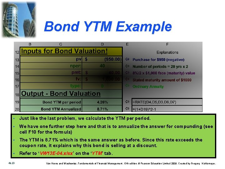 Bond YTM Example • Just like the last problem, we calculate the YTM period.
