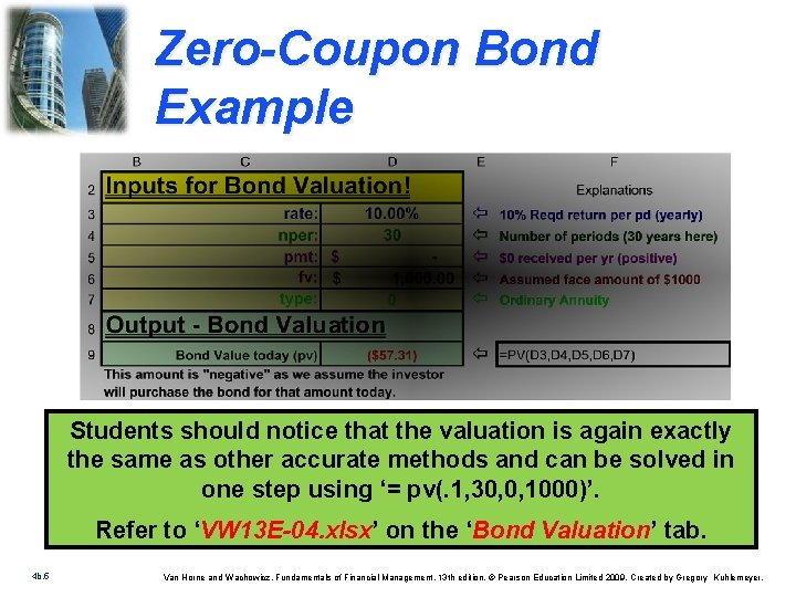 Zero-Coupon Bond Example Students should notice that the valuation is again exactly the same