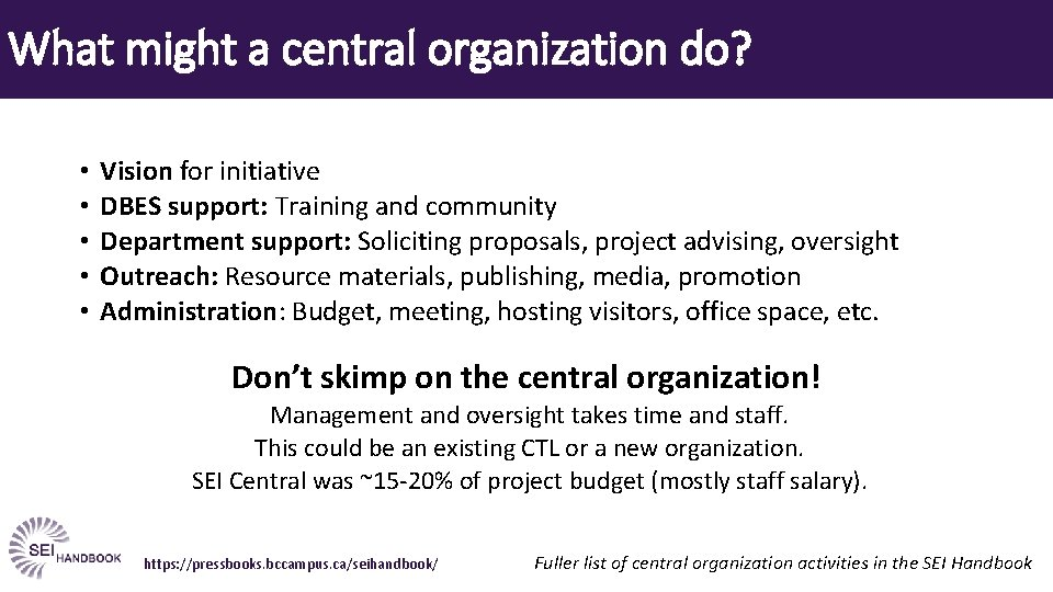 What might a central organization do? • • • Vision for initiative DBES support: